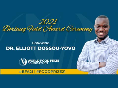 « Le lauréat 2021 du Prix Norman Borlaug, Elliott Dossou-Yovo, est un modèle exemplaire »