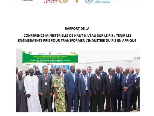 Rapport de la Conférence ministérielle de haut niveau sur le riz