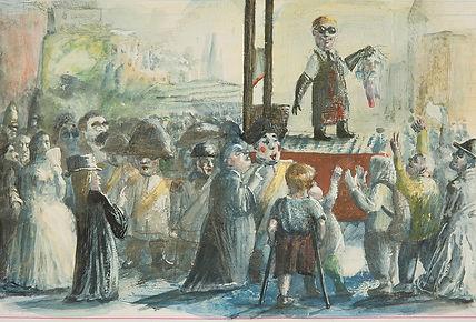 Erste Guillotinierung. Aus dem Bilderbuch Die F.N.-Schlaufe.