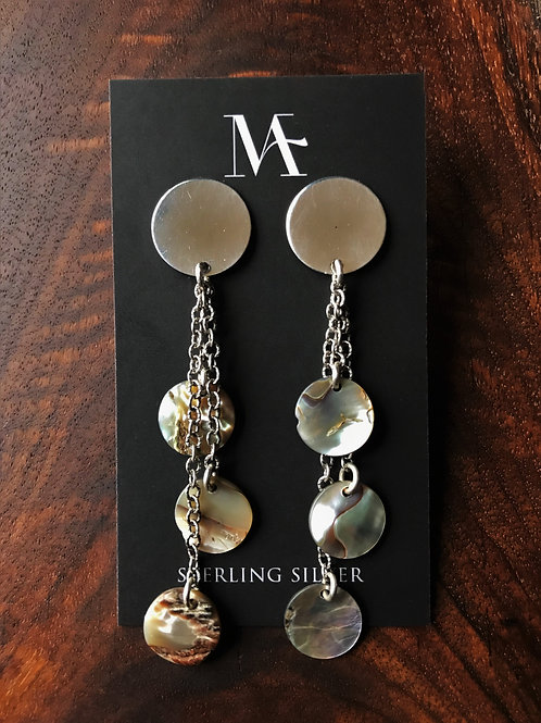 Sterling Silver Disc Earrings with Chain and Round Abalone Shells