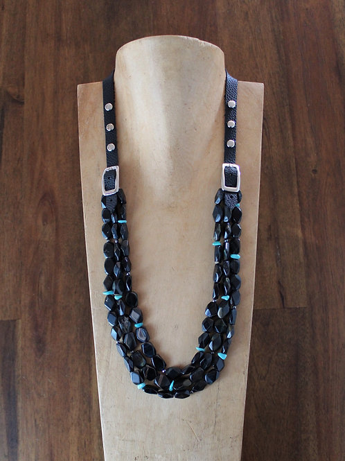 Blue Tiger's Eye and Turquoise Bridle Necklace