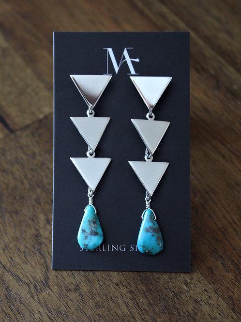 Sterling Three Tier Triangle Earrings