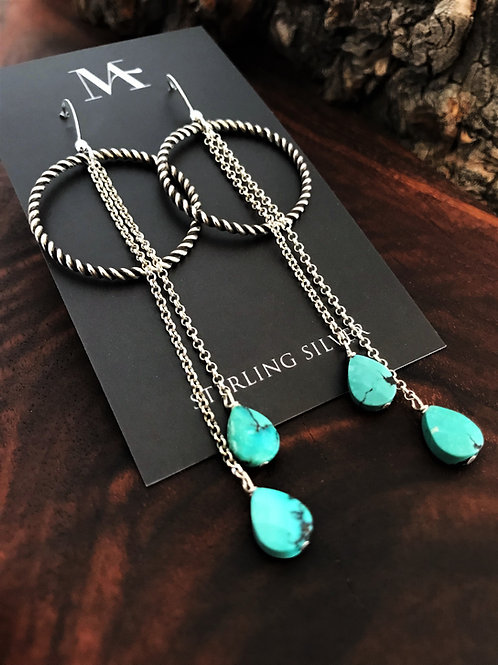 Hoop and Chain Earrings with Faceted Turquoise Drops