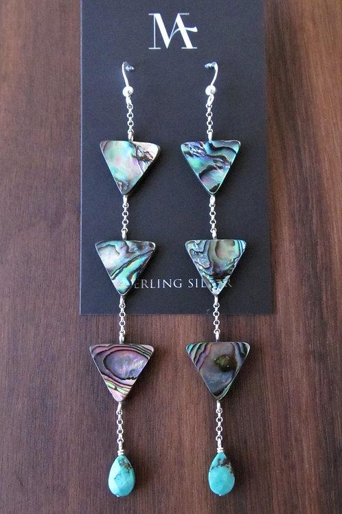 Abalone Triangle Drop Earrings