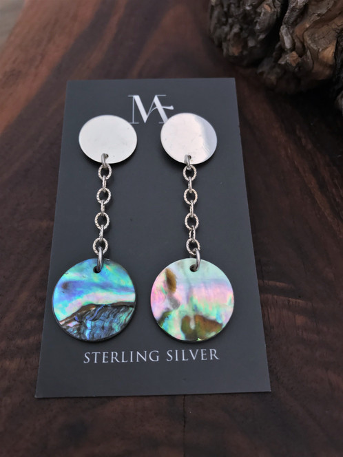 Sterling Silver Disc Earrings With Chains And Round Abalone Ss Are About 2 5 Inches In Length
