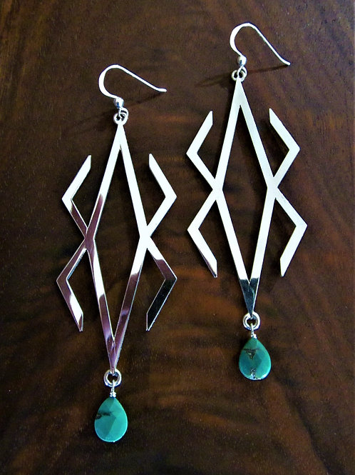 Storm Pattern Turquoise Drop Earrings
