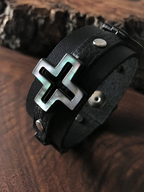 Four Direction Cross Leather Cuff