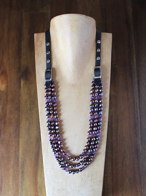 Purple Pearls and Amethyst Bridle Necklace