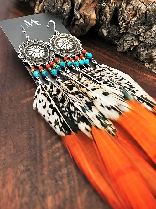 Concho Button Feather Earrings