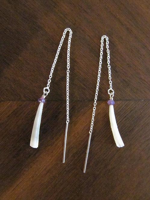 Dentalium shell and Amethyst Threader