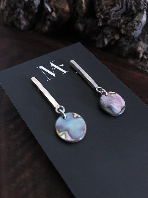 Abalone Disc Bar Earring