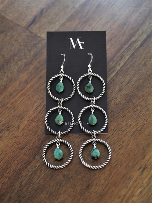 Twisted Wire 3 Tier Green Turquoise Hoops