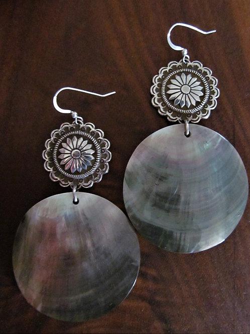 Moccasin Button Shell Earrings