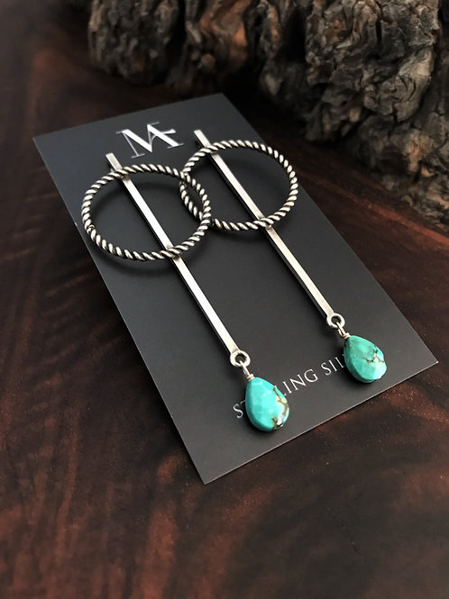 Hoop and Bar Earrings with Faceted Turquoise Drops