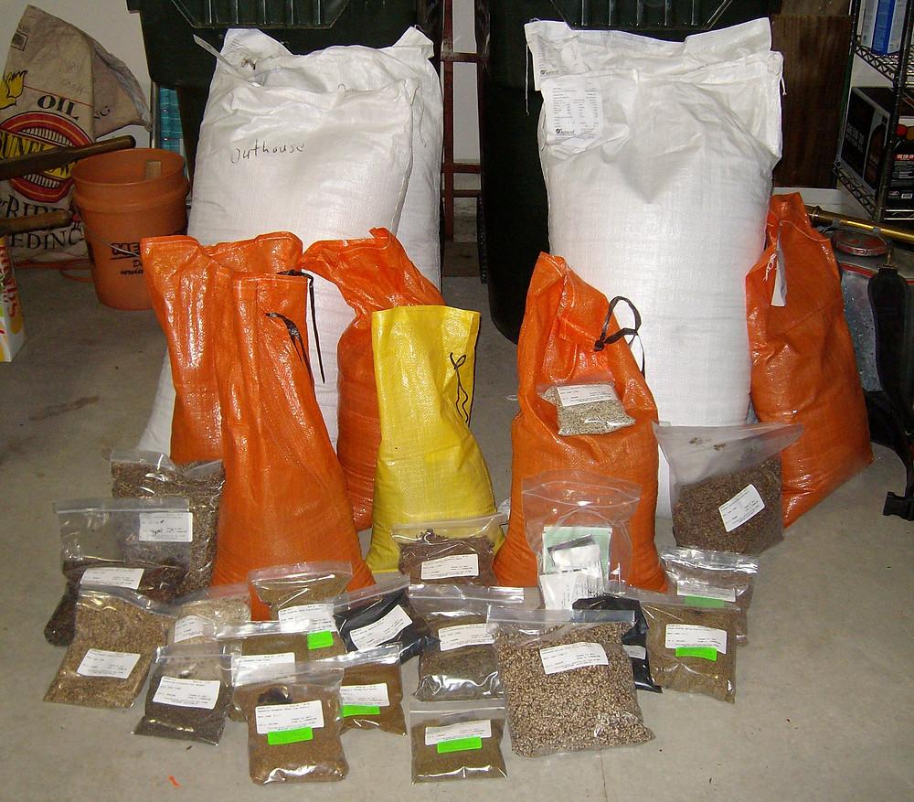 An assortment of native prairie seed.