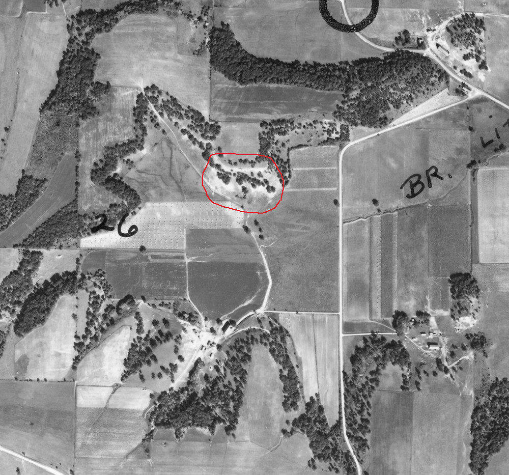 1940 aerial photo of the area. Work site circled in red.