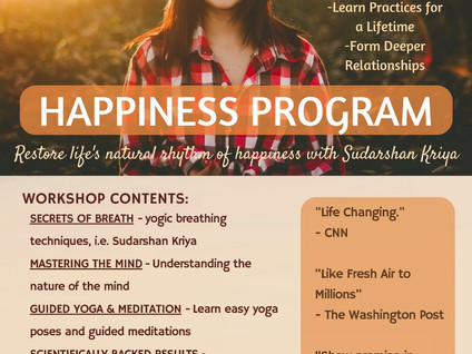 Happiness Program at Yoga Ashram with The Art of Living