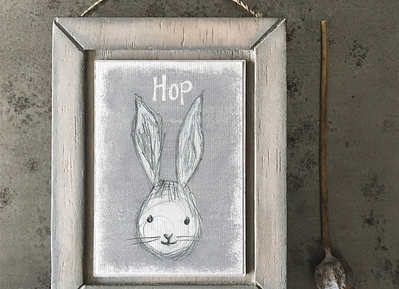 """Wooden Decorative Hanging Picture - """"Bunny Face - Hop"""""""
