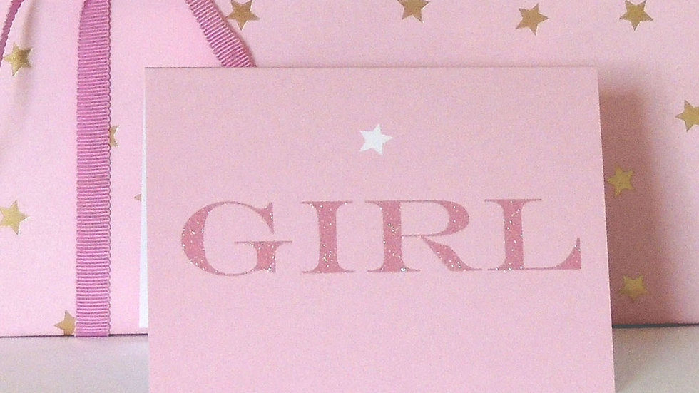 Pink Starry Girl Card (Tiddly Widdly 12 x 9 cm))