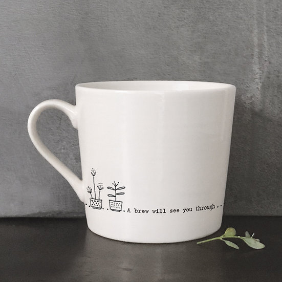 "White Porcelain Mug - ""A Brew Will See You Through"" with Gift Box"