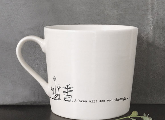 """White Porcelain Mug - """"A Brew Will See You Through"""" with Gift Box"""