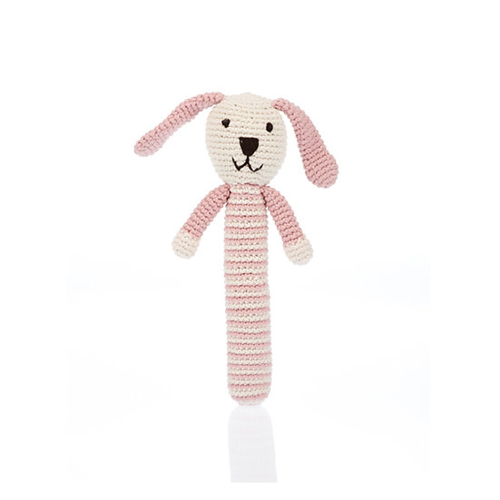 Organic Cotton Knitted Stick Rattle – Bunny - Dusky Pink