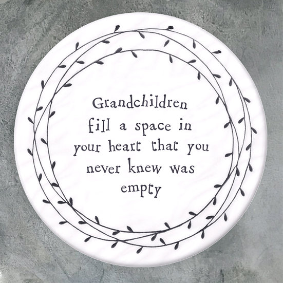"Porcelain Coaster - ""Grandchildren Fill a Space in Your Heart..."""
