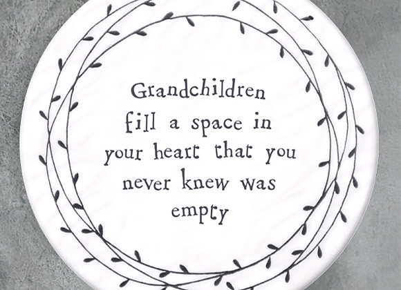 """Porcelain Coaster - """"Grandchildren Fill a Space in Your Heart..."""""""
