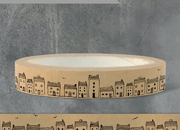 Wide Brown Paper Tape - Houses (50m)