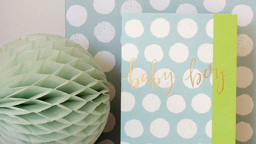 Baby Boy - Blue & White Spots Card (Tiddly Widdly 12 x 9 cm)