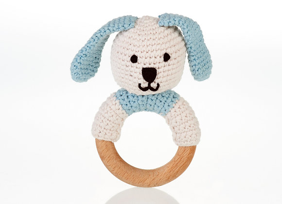 Organic Cotton Knitted Bunny on a Wooden Teething Ring Rattle – Duck Egg Blue
