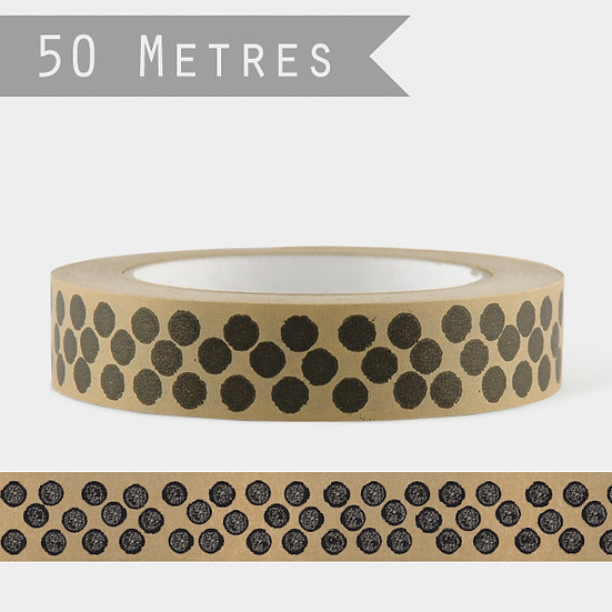 Wide Brown Paper Tape - Black Dots (50m)