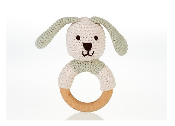 Organic Cotton Knitted Bunny on a Wooden Teething Ring Rattle – Teal