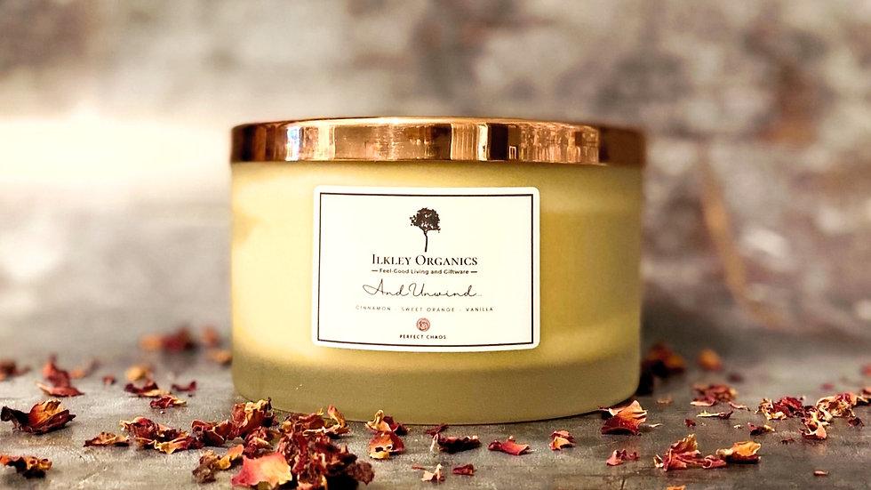 Large Essential Oil Natural Wax Candle  (Cinnamon, Sweet Orange & Vanilla)