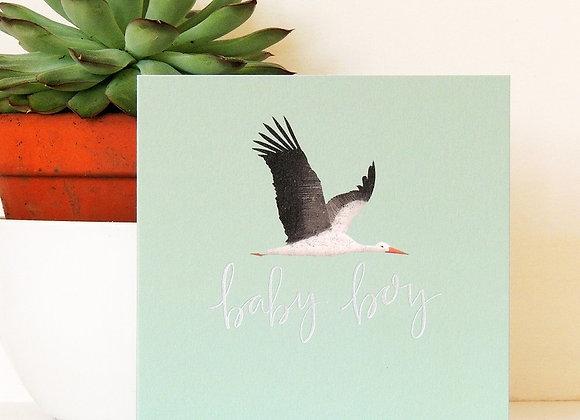 "Blue Stork New Baby ""Baby Boy"" Card"