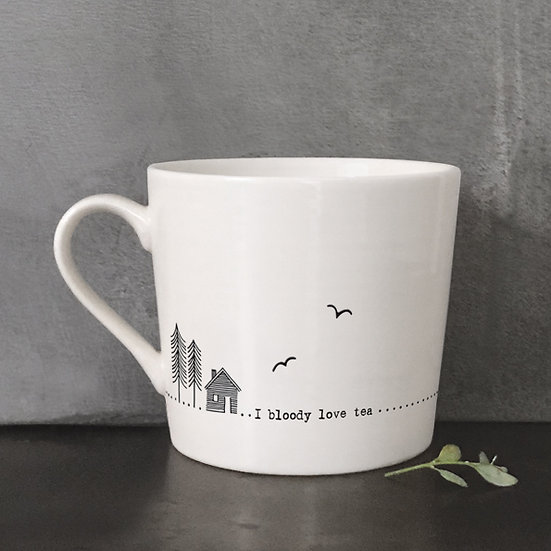 "White Porcelain Mug - ""I Bloody Love Tea"" with Gift Box"