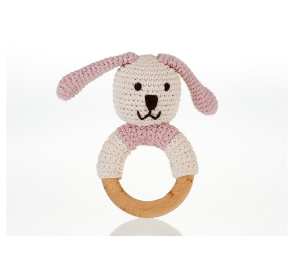 Organic Cotton Knitted Bunny on a Wooden Teething Ring Rattle – Dusky Pink