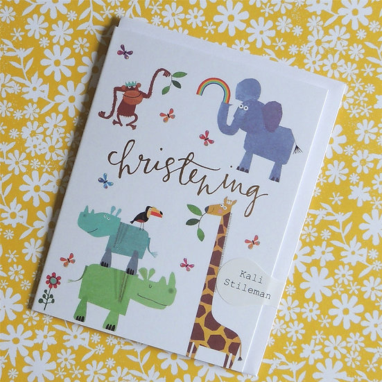 Animal Theme Christening Card (Tiddly Widdly 12 x 9 cm)