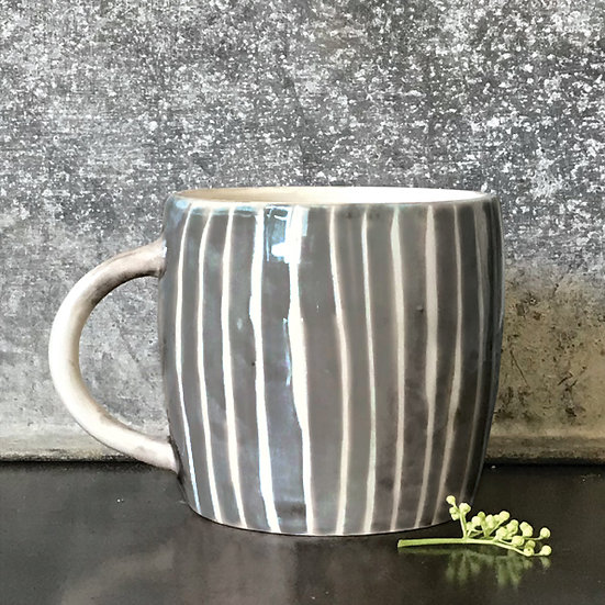 """Rustic Porcelain Mug """"Painted Stripes"""" with Gift Box"""