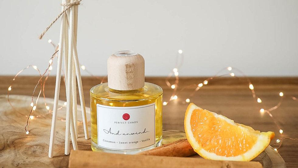 Essential Oil Reed Diffuser (Cinnamon, Sweet Orange & Vanilla)
