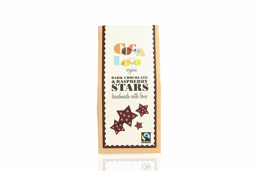 Dark Chocolate & Raspberry Stars (100g) Vegan