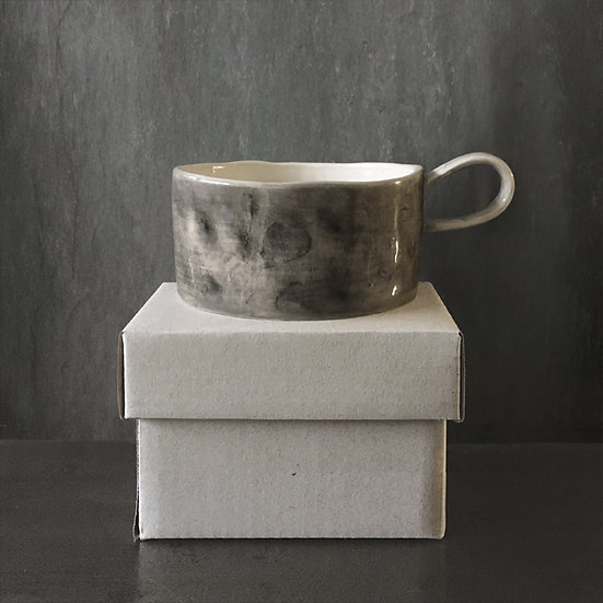 Ceramic Black-Wash Candle Holder - with Scented Candle & Gift Box
