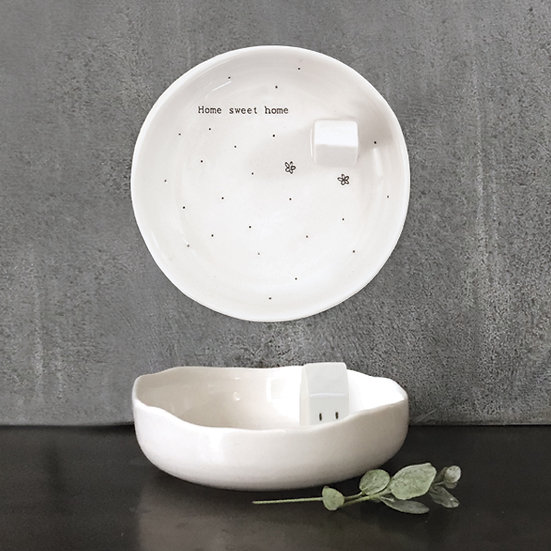 "Porcelain Jewellery Dish - ""Home Sweet Home"" (inc. Gift Box)"