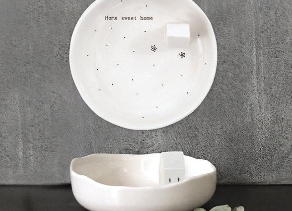 "Porcelain Jewellery Dish - ""Home Sweet Home"" (inc. Gift Box)"