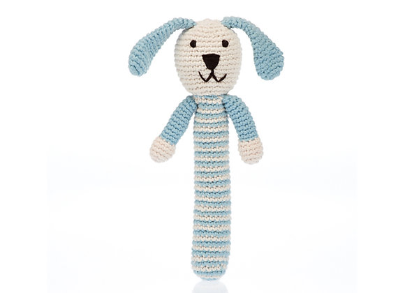 Organic Cotton Knitted Stick Rattle – Bunny - Duck Egg Blue