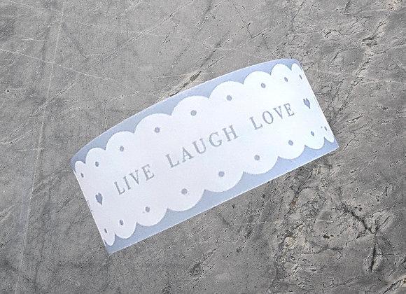 """Scalloped-Edge Grey & White Paper Tape """"Live, Laugh, Love"""" (10m)"""