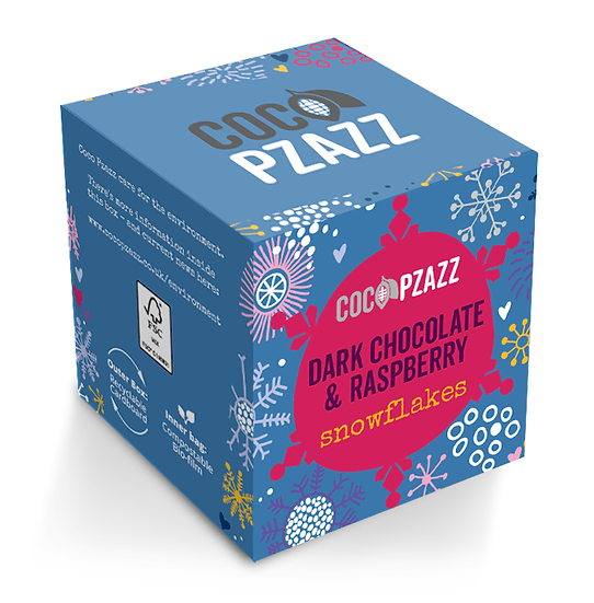 Dark Chocolate & Raspberry Snowflakes (96g) Vegan