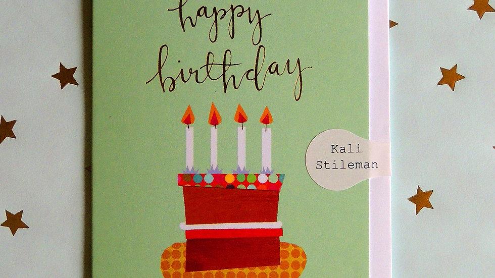 Happy Birthday - Cake Card (Tiddly Widdly 12 x 9 cm)