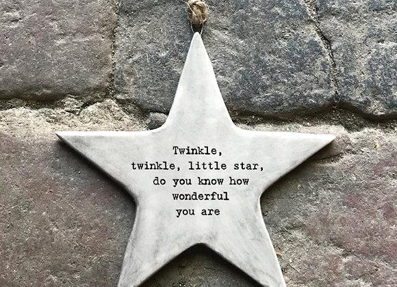"Porcelain Hanging Star Ornament - ""Twinkle Twinkle..."""