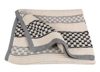Organic Cotton Knitted Baby Blanket - Black, White, Grey